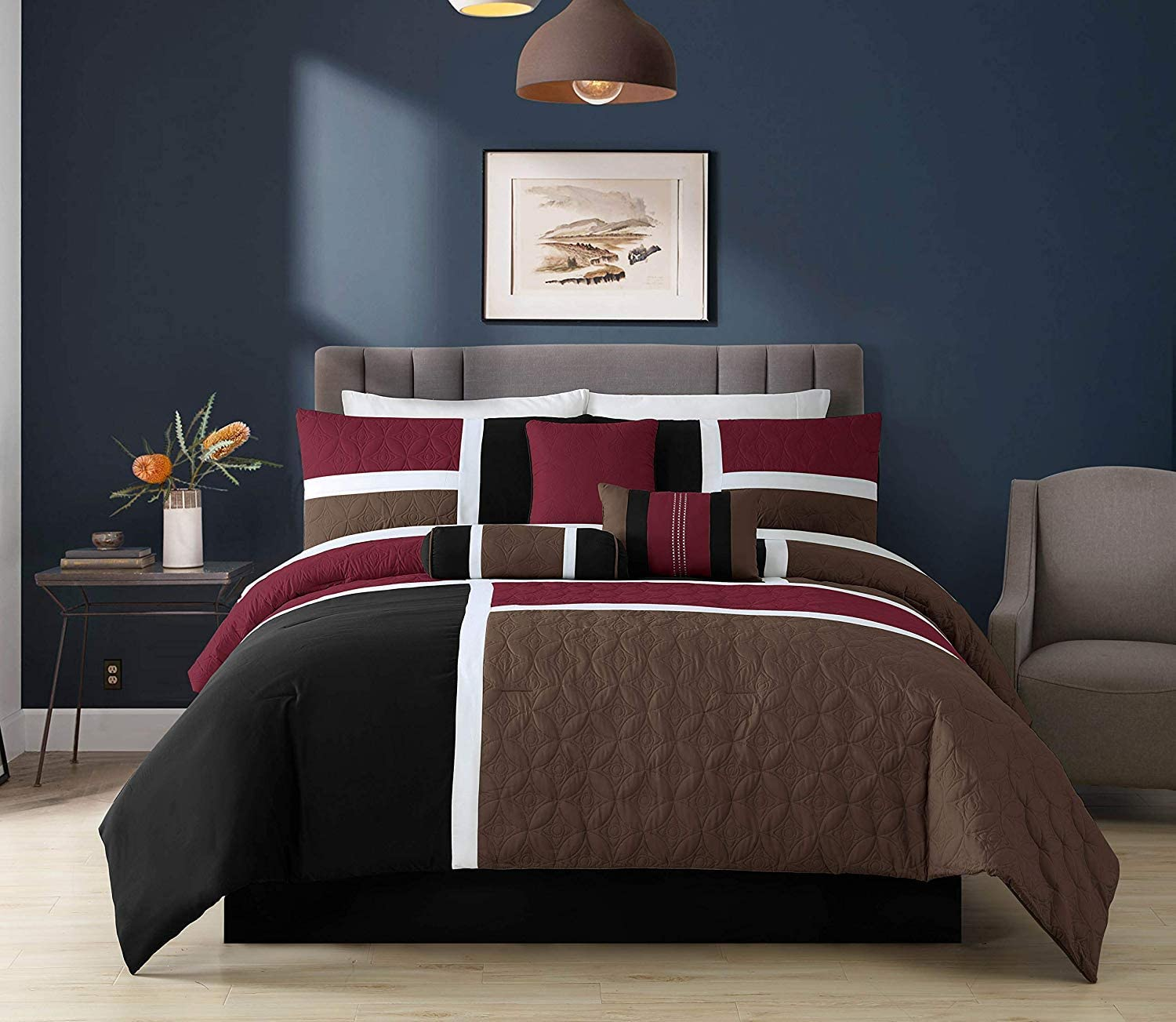 Full, Burgundy//Brown//Black Chezmoi Collection 7-Piece Quilted Patchwork Comforter Set