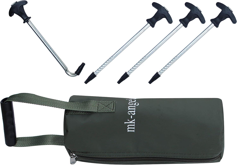 Tasche und T-Peg Puller f/ür alle Campingzelte und Bivvy T-Pegs Zeltheringe inkl 20cm lang Heringe f/ür Angelzelte MK-Angelsport 24+1er Pack