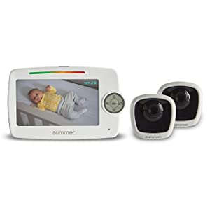 "Summer Lookout Duo 5"" LCD Baby Monitor with 2 Cameras - Digital Zoom, 1000ft Range, Two-Way Audio, Night Vision, Temperature Display, and No-Hole Wall Mount"