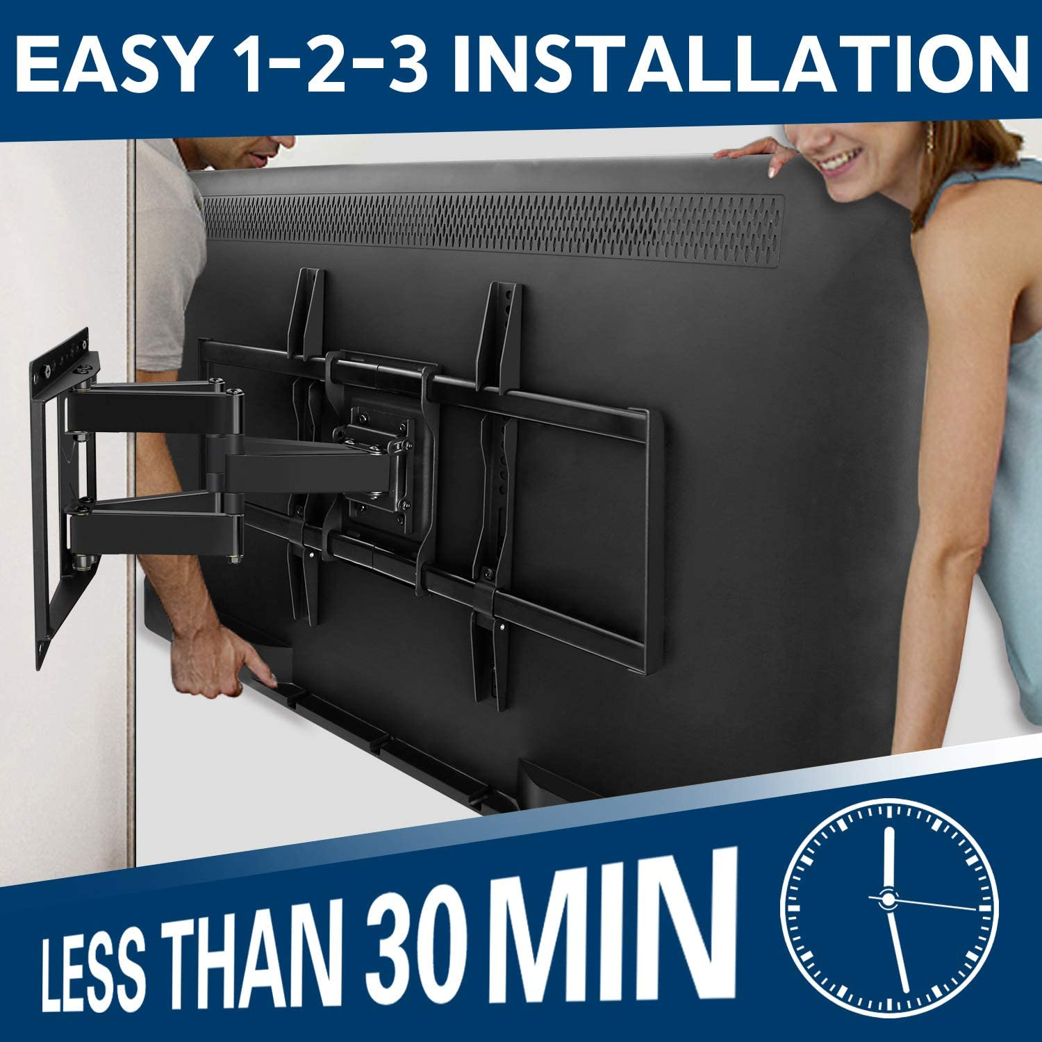 Mounting Dream TV Mount Bracket for 42-70 Inch Flat Screen TVs, Full Motion TV Wall Mounts with Swivel Articulating Dual Arms, Heavy Duty Design - Max VESA 600x400mm, 100 LBS Loading, MD2296