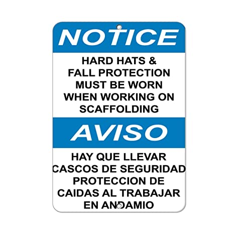Notice Hard Hats & Fall Protection Must Need When Working Aluminum METAL Sign 9 in x