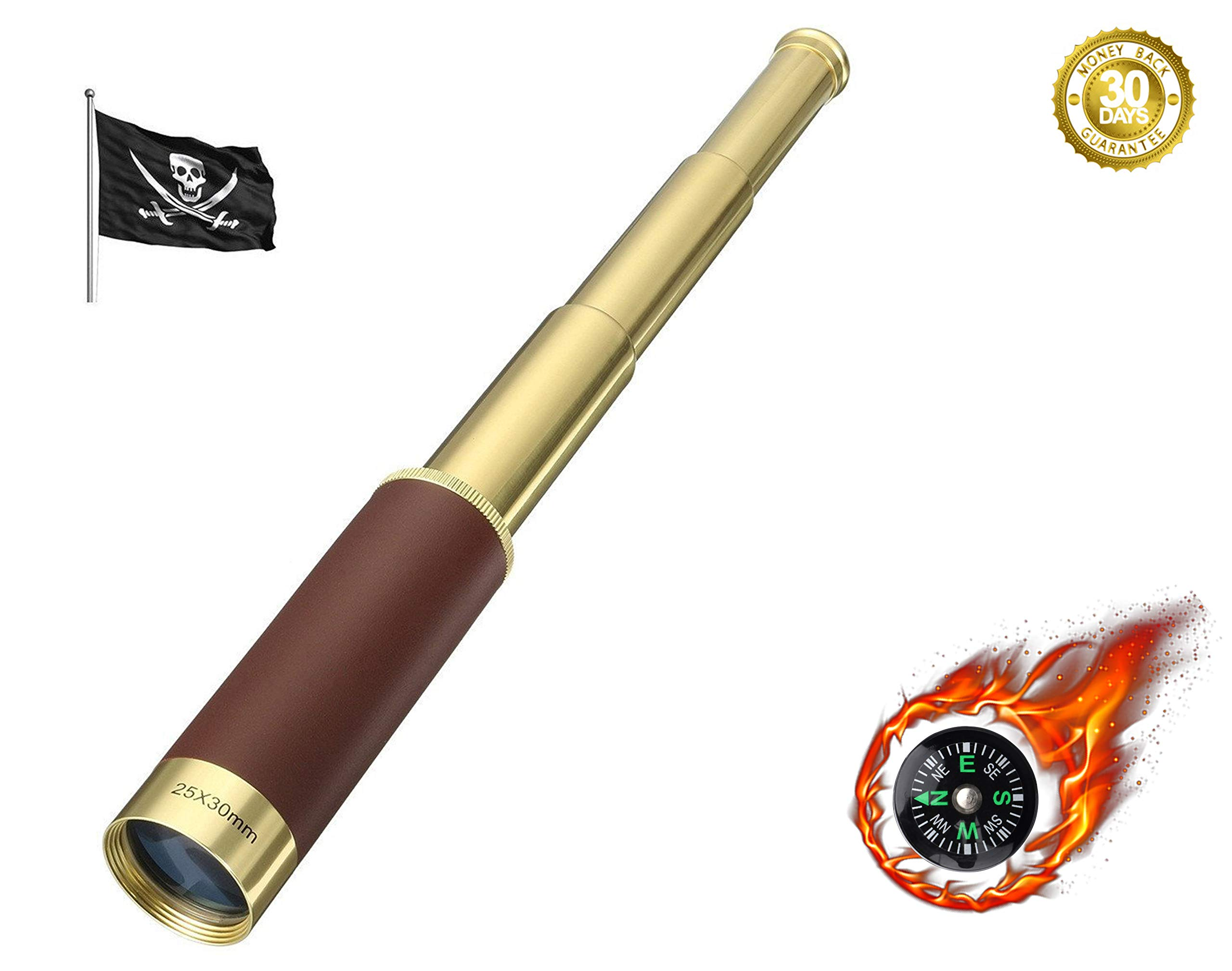 PROCHE Retro Pirate Telescope Zoomable 25x30 Pocket Monocular Portable Collapsible Waterproof Captain Jack's Spyglass Handheld Telescope Vintage Monocular for Kids With Compass by PROCHE