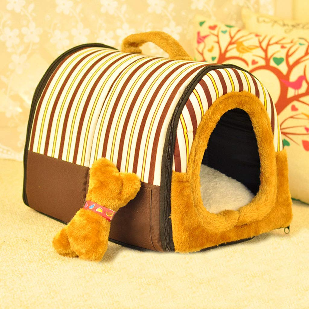 Brown stripes 45x35x33cmYangMi pet Bed Kennel Cat Litter Teddy Kennel Removable and Washable Small Dog Medium Dog Than Bear Thickened Pet Nest Dog House Winter Warm (color   Red dots, Size   45x35x33cm)