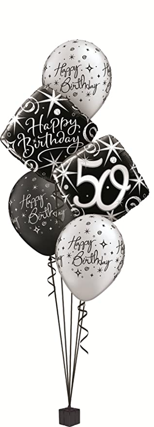 Happy 50th Birthday Party Foil Helium Balloon Display Bouquet Amazoncouk Toys Games