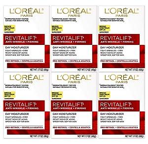 L'Oréal Paris Skincare Revitalift Face Moisturizer with Broad Spectrum SPF 25, Anti-Aging Moisturizer, 1.7 oz (Pack Of 6)
