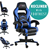 GTFORCE Turbo Reclining Sports Racing Gaming Office Desk PC CAR Faux Leather Chair (Blue)