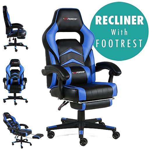 GTFORCE Turbo - Silla Gamer reclinable para el Ordenador - Ideal para casa y el Trabajo - Cuero sintético - Azul