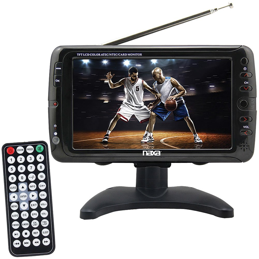 naxa 7 inch lcd screen portable 12v ac dc digital tuner tv. Black Bedroom Furniture Sets. Home Design Ideas