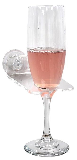 Bathtub   Shower Wine Glass Holder with Suction Cups  Clear Plastic. Amazon com  Bathtub   Shower Wine Glass Holder with Suction Cups
