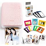 PhotoBee Portable Photo Printer Family Package - PINK (with 48 sheets of sticky backed photo paper, 2 folding albums, 10 color photo frames)