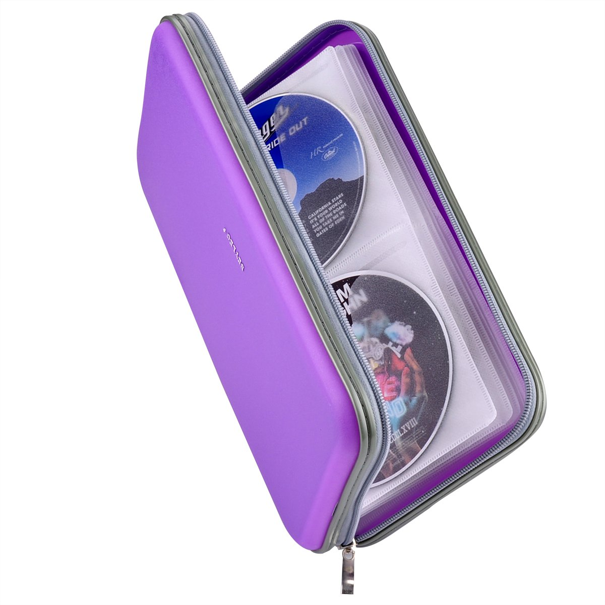 Wismart 70 Capacity Heavy Duty CD DVD Blu-ray Media Case Storage Holder Organizer Wallet (Purple)