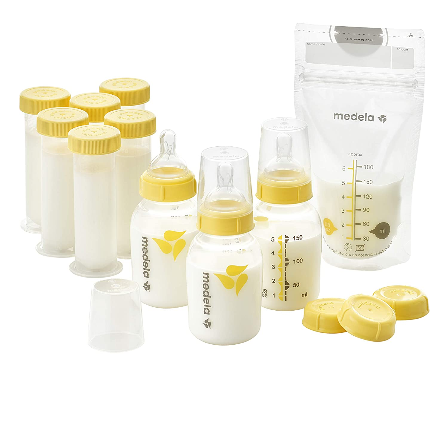 Medela Breastfeeding Gift Set, Breast Milk Storage System; Bottles, Nipples, Travel Caps, Breastmilk Storage Bags and More, Made Without BPA