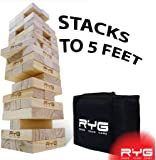 RYG Giant Wooden Toppling Tower, Large Tumbling Timbers Blocks, Wood Stacking Yard Game Jumbo Backyard Set with Carrying Case