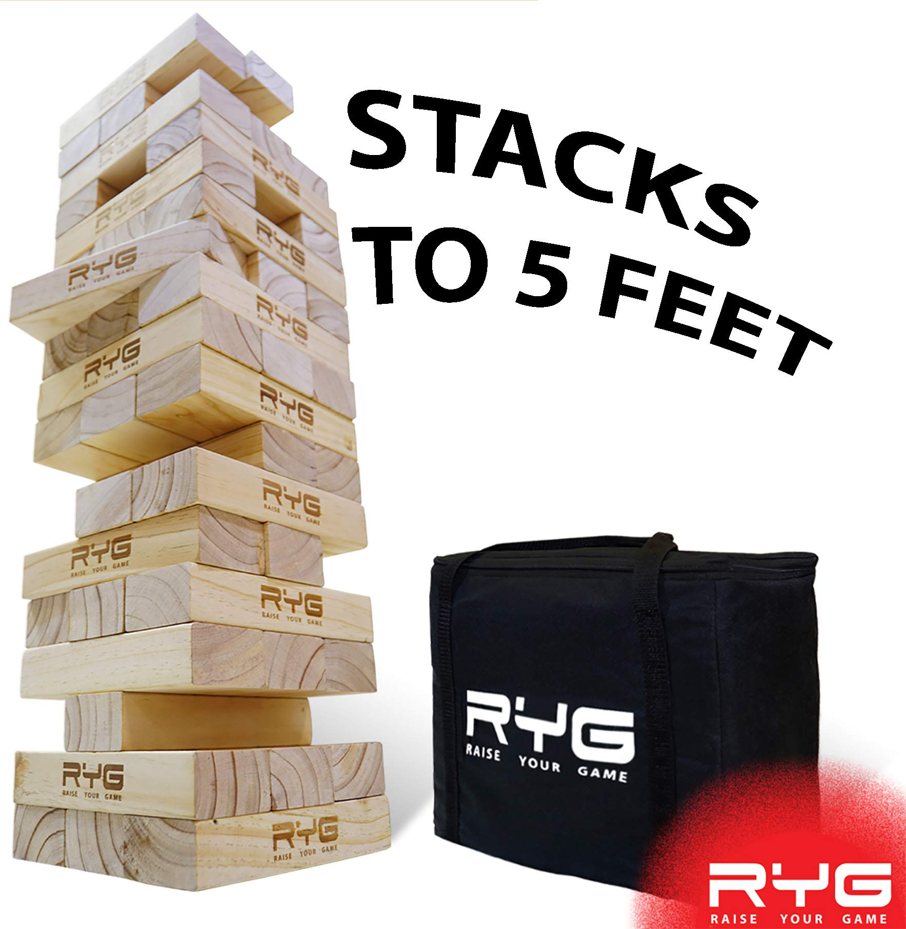 RYG Giant Wooden Toppling Tower, Large Tumbling Timbers Blocks, Wood Stacking Yard Game Jumbo Backyard Set with Carrying Case by Raise Your Game
