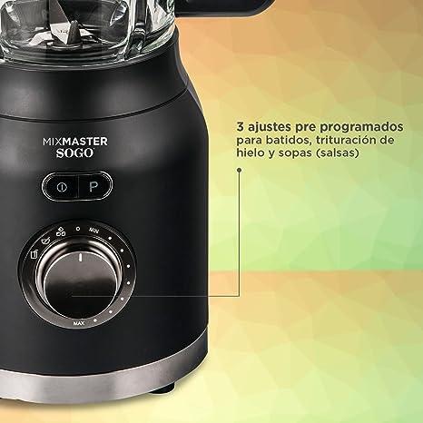 Sogo Mix Master Batidora de vaso, Licuadora americana de 1200W con jarra de cristal de 1.6L, cuchilla de 6 hojas de acero inoxidable, Color: Negro: Amazon.es: Hogar
