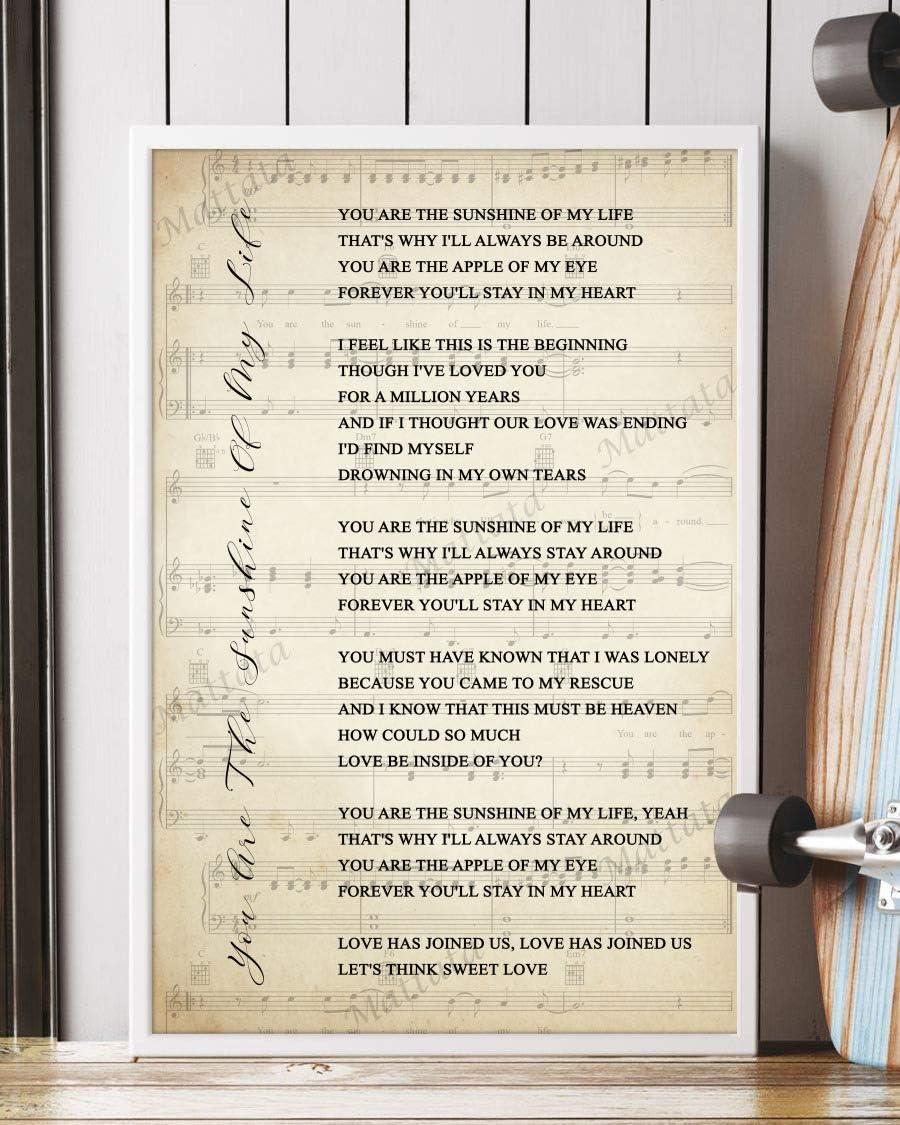 Amazon Com Mattata Decor Gift You Are The Sunshine Of My Life Song Lyrics Sheet Music Portrait Poster Print 12 X 18 Kitchen Dining