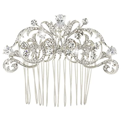 TENYE Women's Austrian Crystal Bridal Flower Leaf Vine Hair Comb Clear fpMXeift