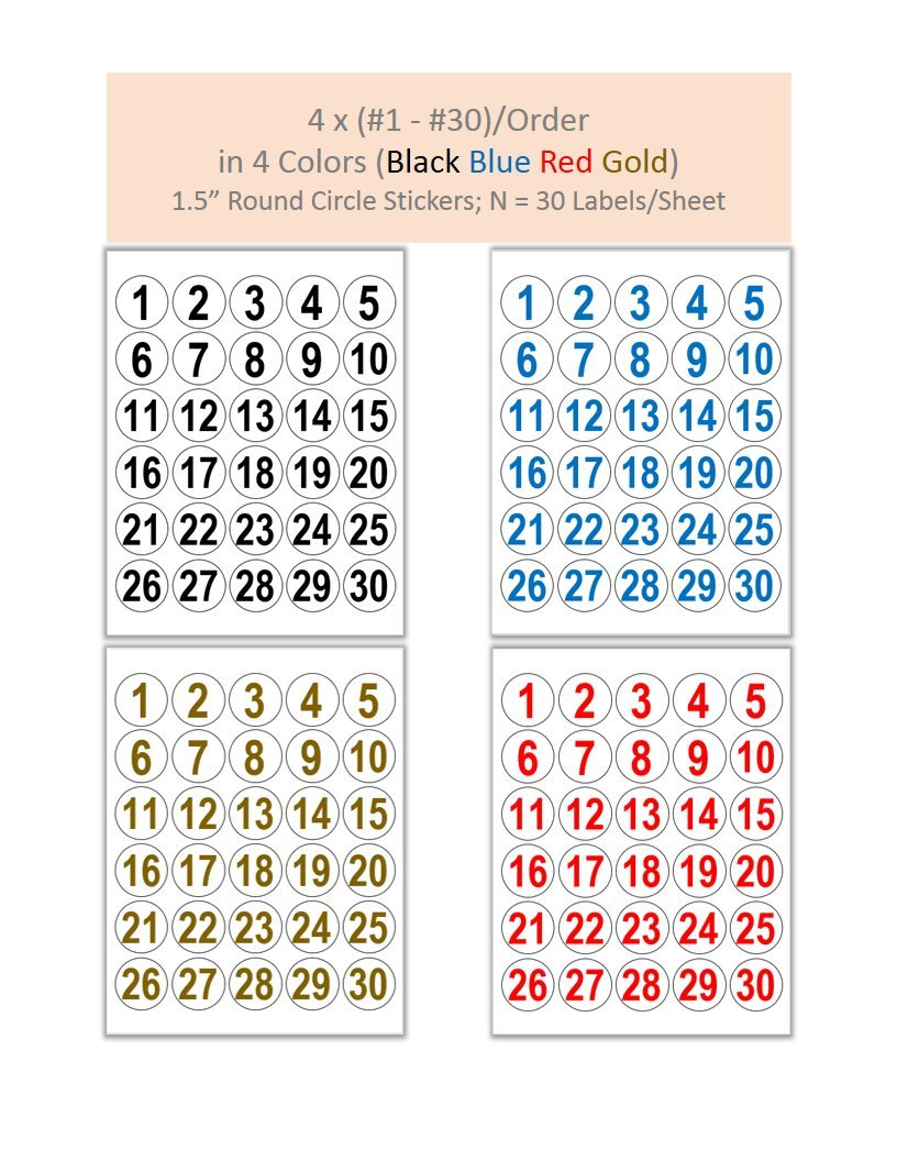 4 x (#1 - #30) Numbered Stickers: On 1.5'' Round Circle Labels in 4 Colors (Black Blue Red Gold) - White Matte Finish