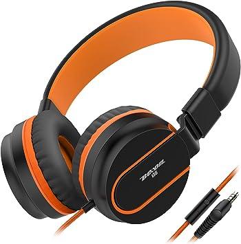 Headphones Besom i36 Kids Headphones Foldable Stereo Ear Headphones w//Mic 3.5mm Jack Wired Cord On-Ear Headset for Children Kid Teens Adult Headphone for School,Home and Travel Black Orange