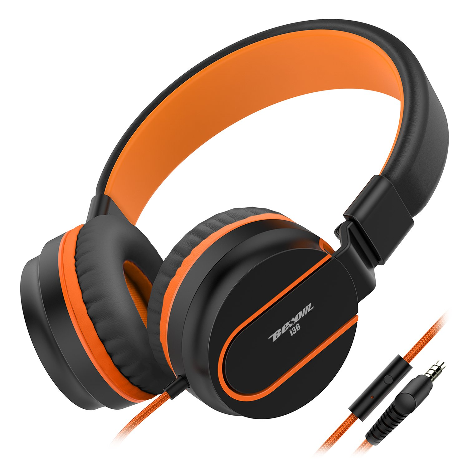 Besom i36 Headphones for Kids,Girls,Boys,Teens,Adults,Stereo Lightweight Adjustable Foldable Wired Headset with Mic 3.5mm Jack for iPad Cellphones Computer Mp3/4 Tablet School Airplane(Black Orange)