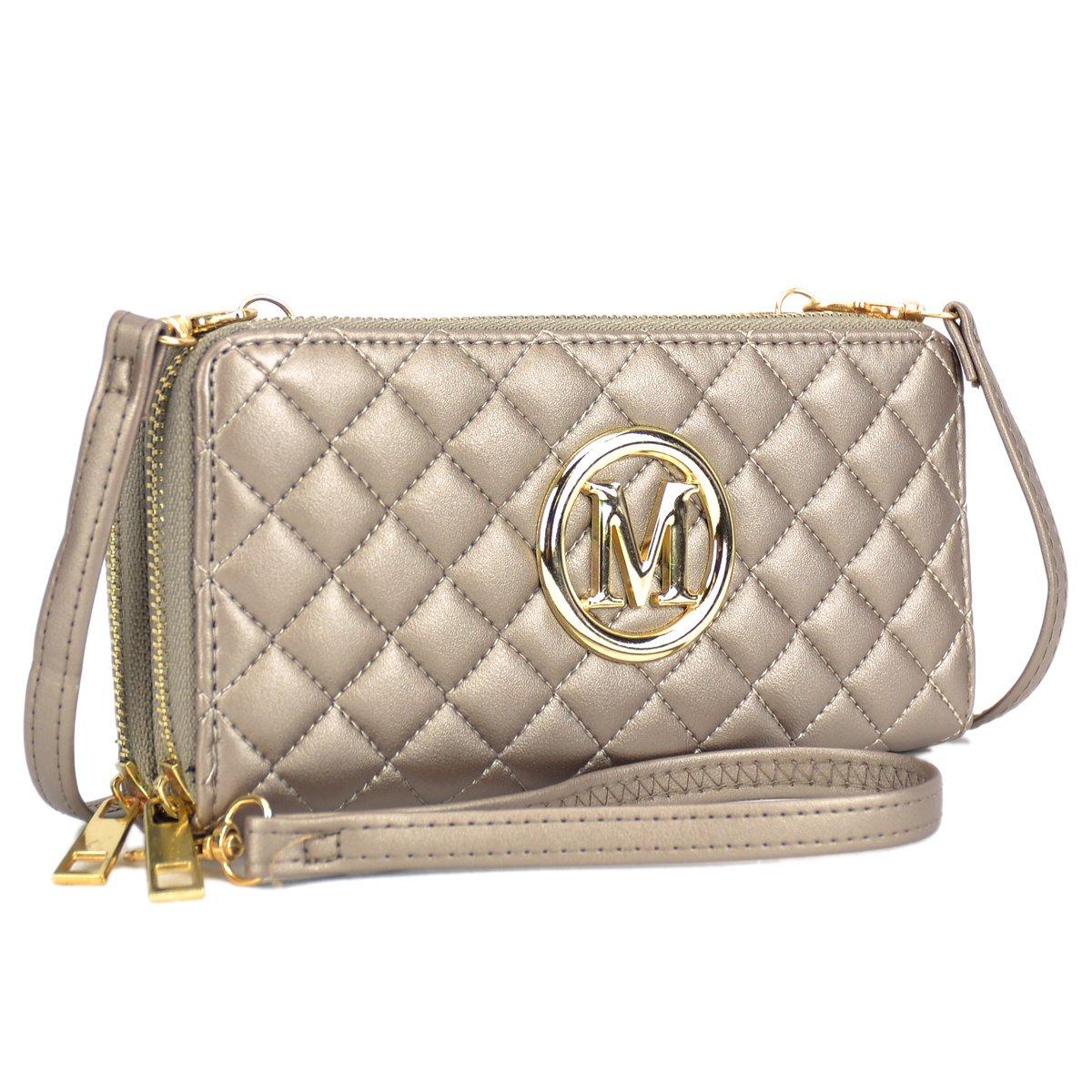 Women Quilted Leather Wallet Clutch Large Travel Corssbody Shoulder Purse Zip Around