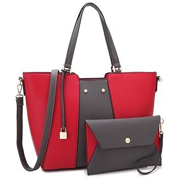 0302e4689168c7 Amazon.com: MK Belted collection Fashion Hobo Handbag for Women~2 PCS  Women's RED Tote Bag Satchel Handbag Shoulder Bags W coin purse (Red/Gray):  Marco ...