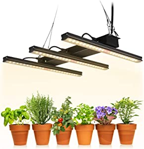 TORCHSTAR LED Grow Light Fixture Kit, Integrated Grow Light Strips, Linkable Plant Growing Lamp Full Spectrum for Indoor Garden, Houseplants, Vegetable, Flower, 3-Year Warranty, Large
