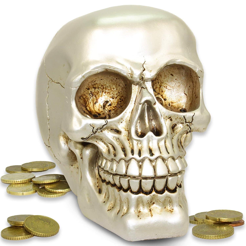 Bronze-Chrome mtb more energy Tirelire Metal Head D/écoration cr/âne t/ête de Mort