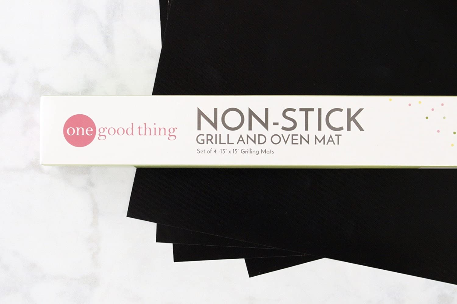 Non-Stick Grill and Oven Mats Set of 4 13 x 15 inch Reusable FDA Approved, PFOA Free BBQ and Baking Mats by One Good Thing for Ovens, Stoves and Gas, Charcoal, Electric Grills
