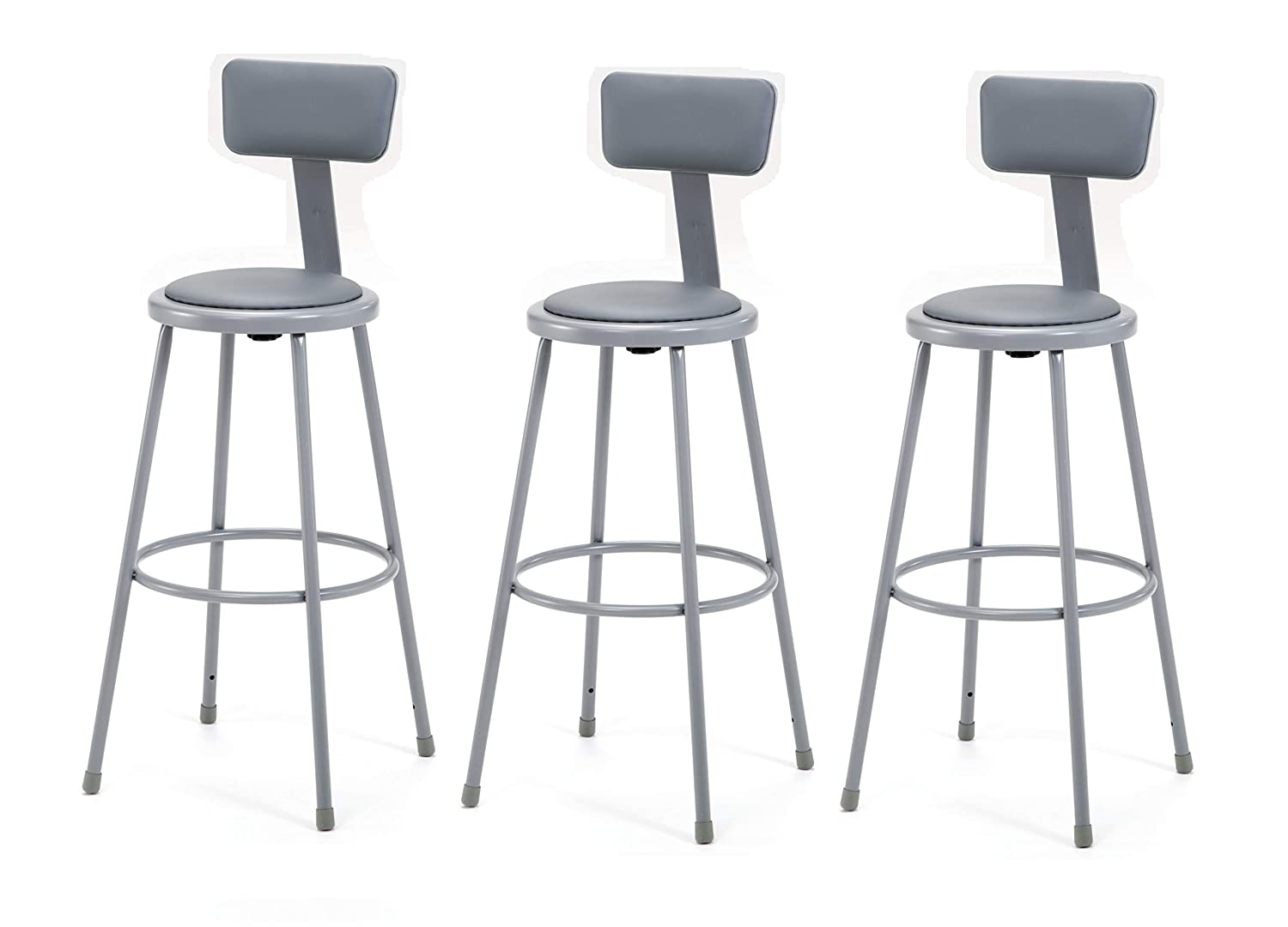 "(3 Pack) NPS 30"" Heavy Duty Vinyl Padded Steel Stool with Backrest, Grey 71fNevLBvlL._SL1500_"