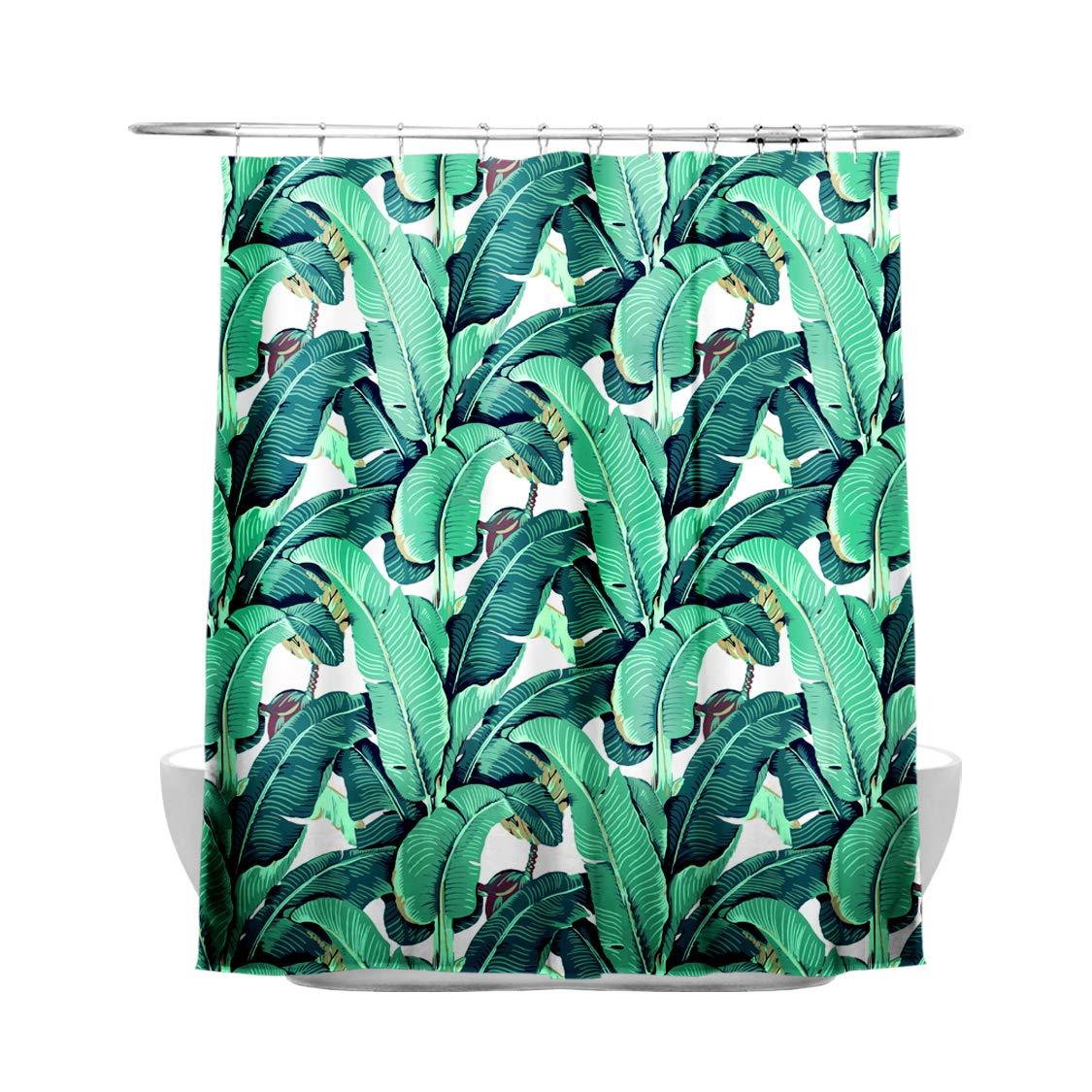 Creative & Smart Shower Curtain – 100% High-Grade Polyester Material, Amazing Exotic Rainforest Banana Leaf Pattern, Waterproof & Heavy-Duty Design, Bathroom Curtain Hooks Included, 180cm X 180cm Charlesshunshun