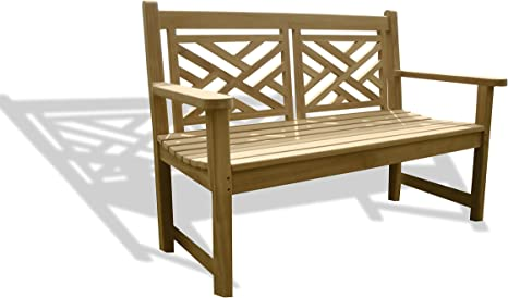 Amazon Com Windsor S Genuine Grade A Teak 48 British Classic Chippendale 2 Seater Bench W Comfortable Contoured Seat World S Best Outdoor Furniture Teak Lasts A Lifetime Kitchen Dining