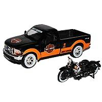 Ford F350 Schwarz Orange1999 mit Motorrad El Knuckelhead 1936 Harley Davidson 1/24 Maisto Modell Auto mit individiuellem Wunschkennzeichen