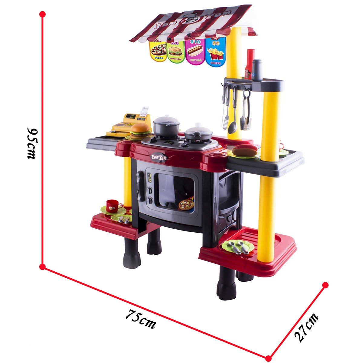deAO Fast Food Kitchen Shop Stand Playset 2in1 Pretend Role Play ...