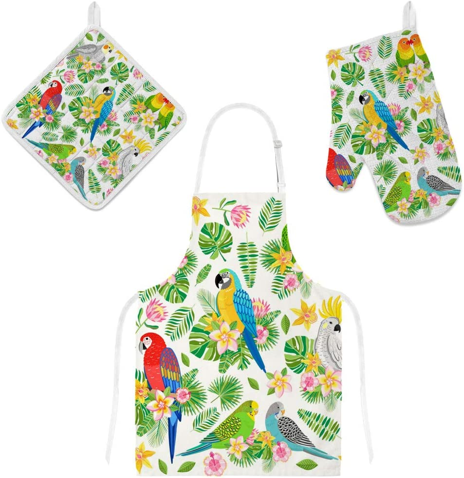 Top Carpenter Polyester Insulation Kitchen Oven Mitts Potholder Apron 3Pcs Set Parrot Leaves Flowers Non Slip Heat Resistant Gloves for Baking Cooking BBQ