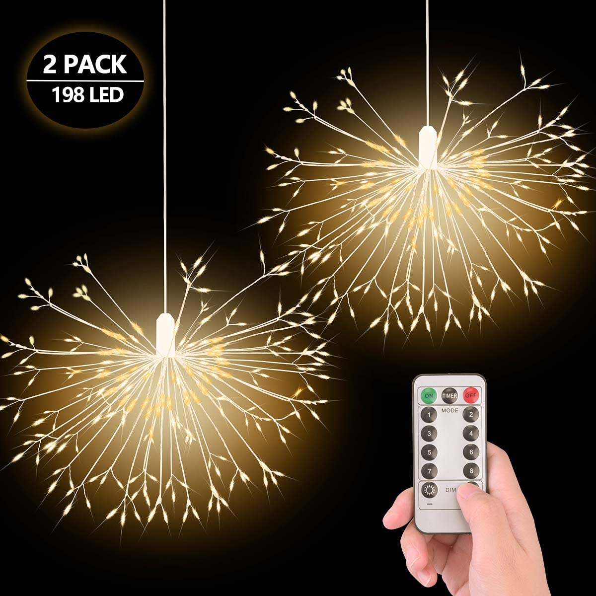 EVILTO Battery Operated String Lights 198 LED Fairy Lights Hanging Starburst Lights 8 Modes Waterproof Decorative Light for Party Bedroom 2 Pack Warm White