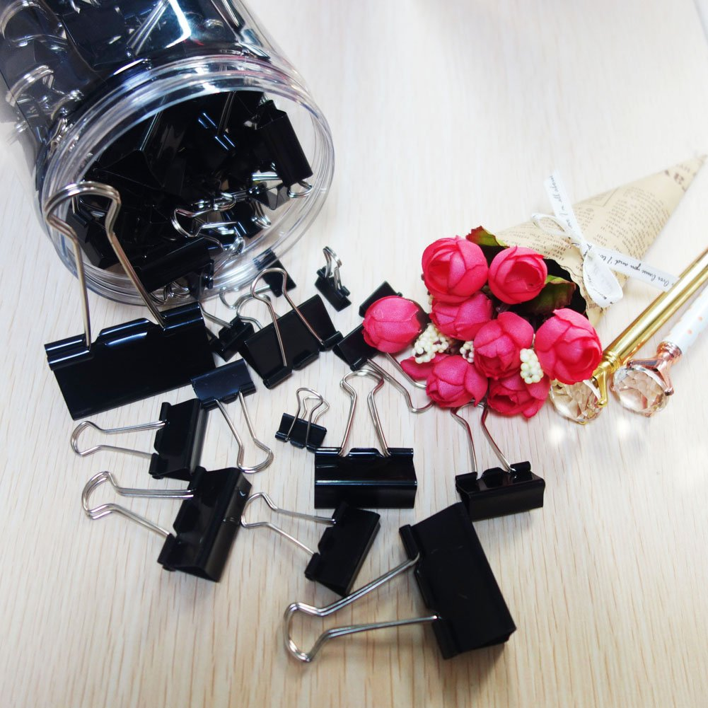 125pcs Binder Clips,Paper Clamp Clips for Letter Notes Paper Binder Office/School Supplies,Assorted Sizes by eQFeast (Image #6)