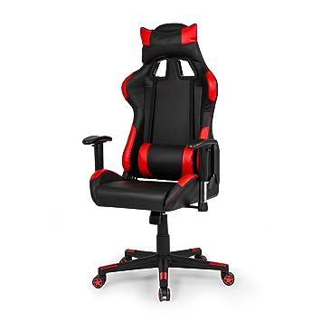 Due-home - Silla ergonomica de oficina gaming Silverstone, sillón giratorio para escritorio, estudio o despacho color Rojo, medidas: 67x124x68 cm de fondo: ...