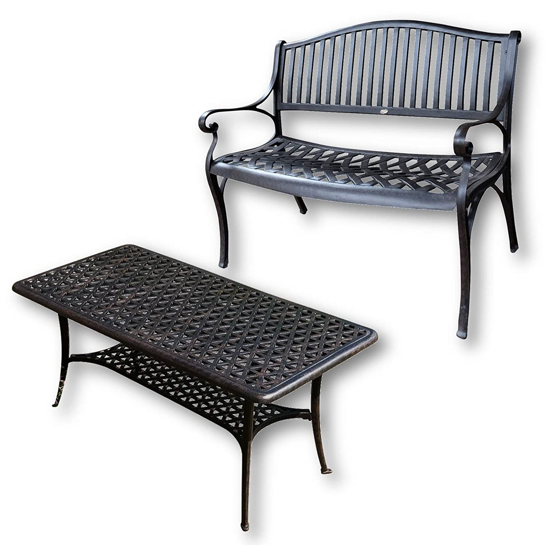 Lazy Susan   GRACE Gartenbank Und CLAIRE Rechteckiger Garten Beistelltisch    Gartenmöbel Set Aus Metall,