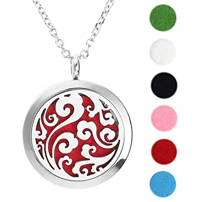 Jovivi silver aromatherapy essential oil diffuser necklace361l jovivi silver aromatherapy essential oil diffuser necklace361l stainless steel locket pendant with 24quot aloadofball Image collections