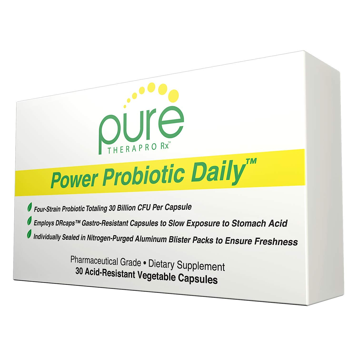 """Power Probiotic Daily - 30""""Acid-Resistant"""" Vcaps   4 Proven Strains - 30 Billion CFU Per Capsule   Sealed in Nitrogen-Purged Aluminum Blister Packs to Insure Freshness   NO Refrigeration Required"""