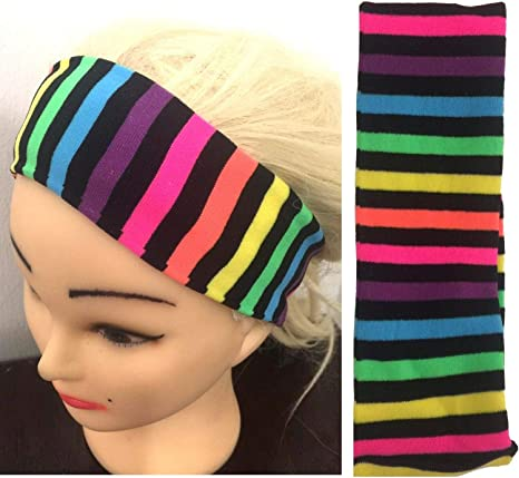 Shiny Rainbow Neon Headband Alice Retro Summer Hair Band Girls xx