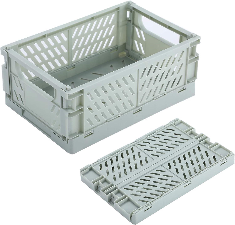 BAREGO Caja de Almacenamiento Plegable de plástico/Contenedores de Canasta/Canasta de contenedor Plegable, Caja de Almacenamiento para Documentos, Juguetes, Ropa y comestibles (Verde, Mx2 Piezas)