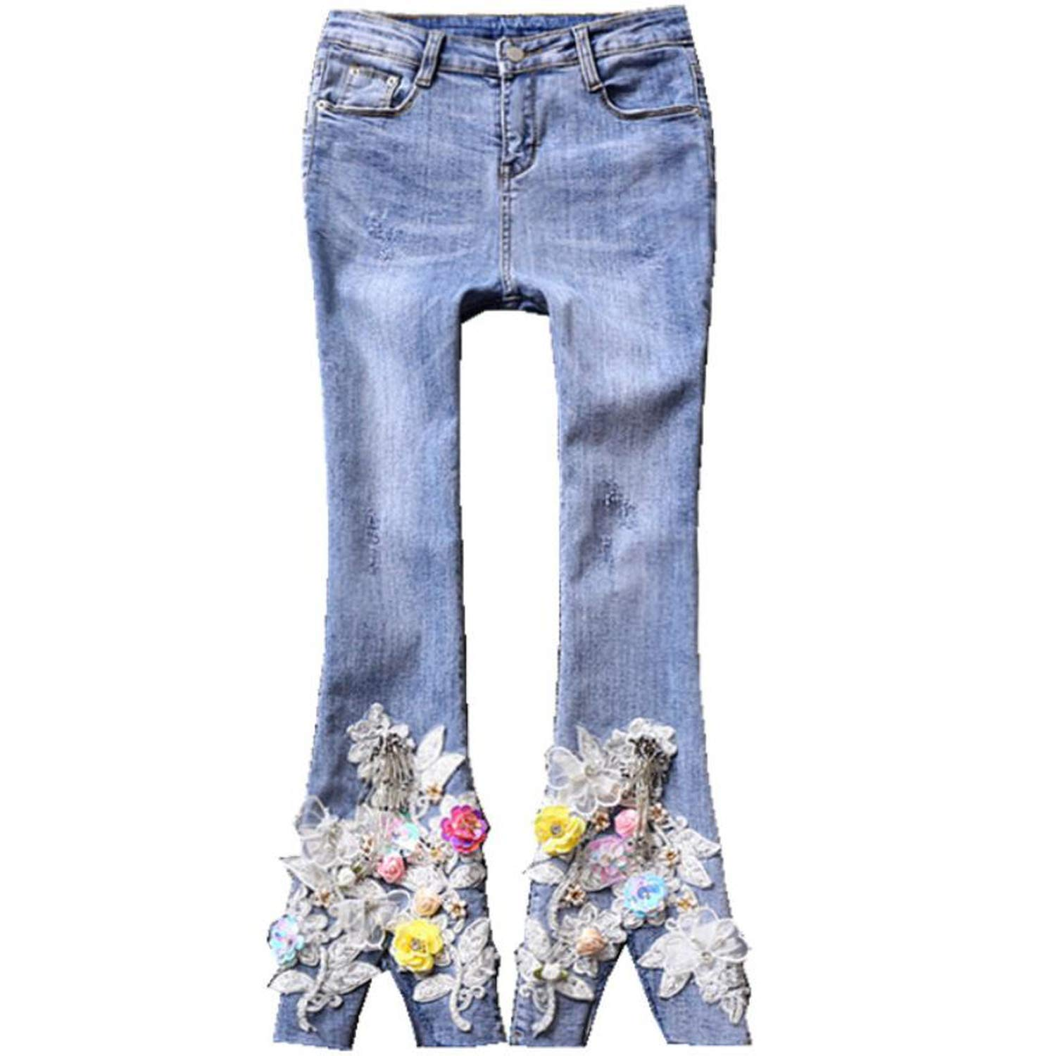 Light bluee Attrastores 2019 Embroidered Flowers Fashion Jeans Ankle Length Women Split Sequins Flared Pants