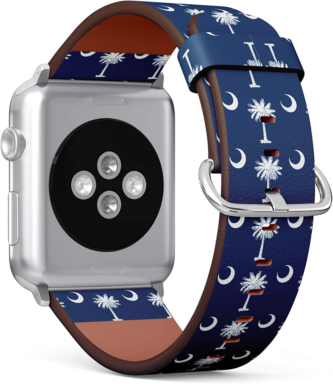 (State Flag of South Carolina) Patterned Leather Wristband Strap for Apple Watch Series 4/3/2/1 gen,Replacement for iWatch 42mm / 44mm Bands