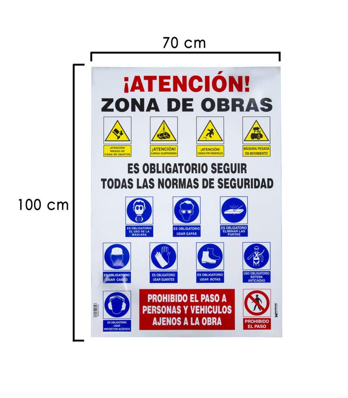 Wolfpack 15050700 Cartel Combinado Normas Obra 100x70cm
