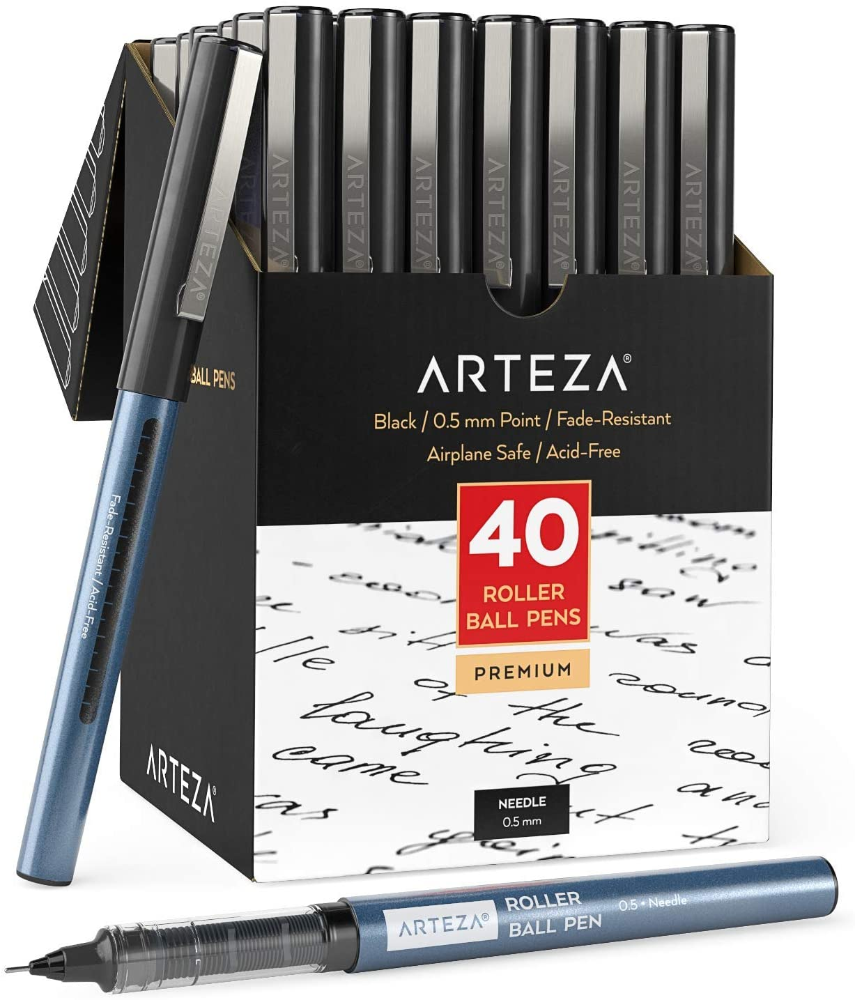 Arteza Rollerball Pens Fine Point, Set of 40 Black Liquid Ink, Extra Fine 0.5 mm Needle Tip Pen, Make Precise Lines for Writing, Notetaking, and Drawing
