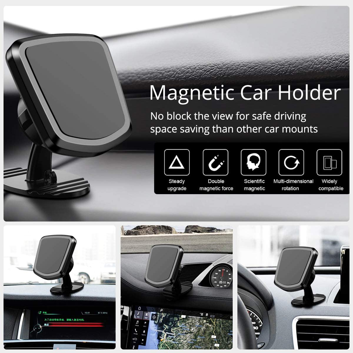 FONKEN Smartphone Car Air Vent Mount Holder 2-Pack 360/°Rotate Universal Stick-On Dashboard Cell Phone Holder Magnet Car Phone Mount Compatible iPhone 11 Xs XR Samsung S9 S8 Magnetic Phone Car Mount