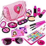 Kids Makeup Kit - Girl Pretend Play Makeup & My First Purse Toy for Toddler Gifts Including Pink Princess Purse, Smartphone,