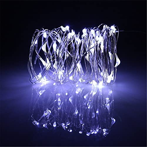 BUYERTIME 5M/16.4ft 50 LEDs String Lights Silver Wire Lights, Waterproof Starry String Lights With AA Battery Powered Ultra Thin String Lights Wire For Decoration (Cool White)